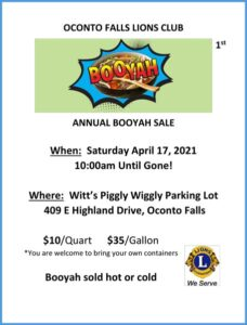 Lions Club of Oconto Falls first annual booyah sale